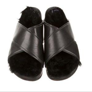 Céline Leather with rabbit fur-Lined slide sandal